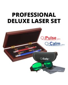 Professional Deluxe Laser Set: QiCalm Blue 450 nM and QiPulse Red 635 nM + Laser Protection Glasses